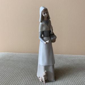 Lladro  Shepherdess with Dog